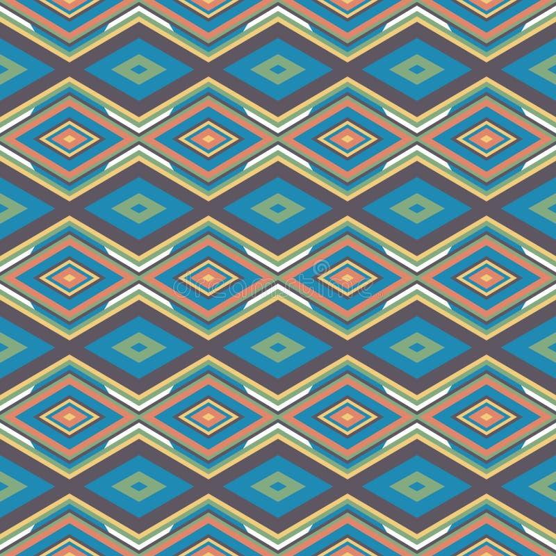 Ethnisches geometrisches Muster in der Wiederholung Gewebedruck Nahtloser Hintergrund, Mosaikverzierung, Retrostil stock abbildung