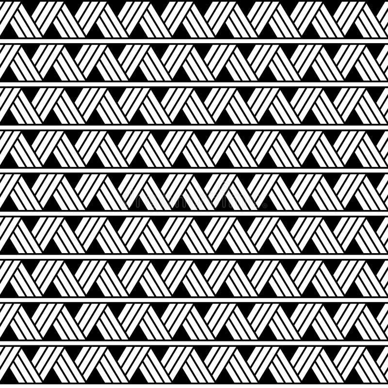 Ethnisches geometrisches nahtloses Muster des Vektors in der Maori- Tätowierungsart Horizontales Muster Einfache skandinavische A stock abbildung