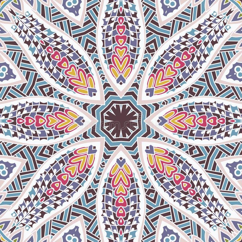 Ethnisches nahtloses Design der Stammes- indischen Blume Festliche bunte Mandalamusterverzierung Für Tapete und fabrick lizenzfreie abbildung