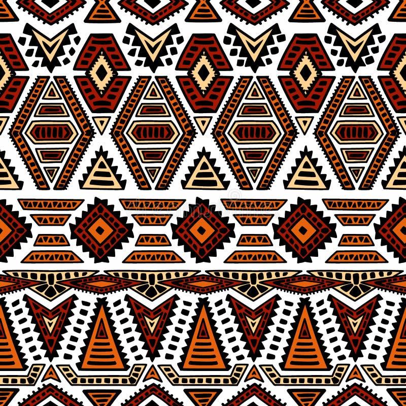 Ethnisches nahtloses Muster Geometrische Verzierung eigenhändig gemalt blA stock abbildung