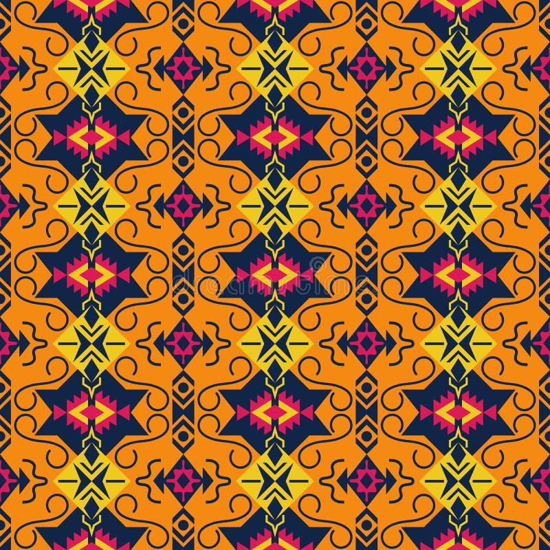Ethnisches nahtloses Muster Stammes- kilim Aztekisch, mexikanisch, Boho, gebürtiges Gewebe stock abbildung