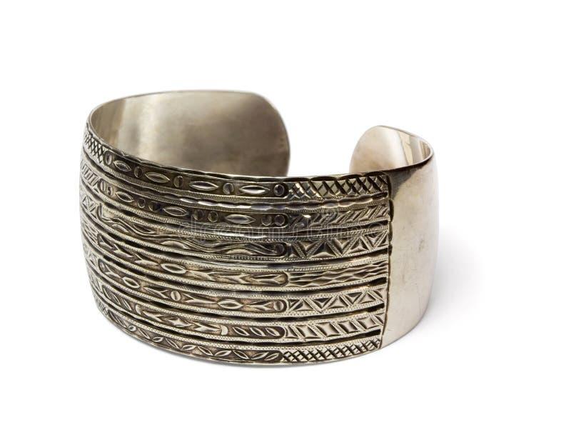 Ethnisches silbernes Armband stockbild