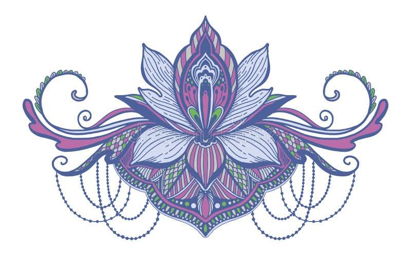 Ethnisches Symbol Lotus-Blume T?towierungsentwurfsmotiv, Dekorationselement Asiatische Geistigkeit, Nirwana und Unschuld des Zeic lizenzfreie abbildung