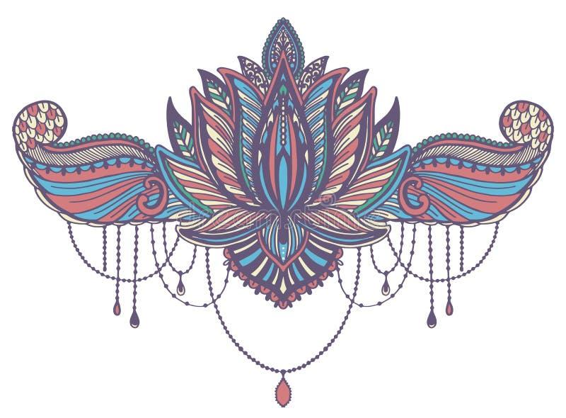 Ethnisches Symbol Lotus-Blume T?towierungsentwurfsmotiv, Dekorationselement Asiatische Geistigkeit, Nirwana und Unschuld des Zeic stock abbildung