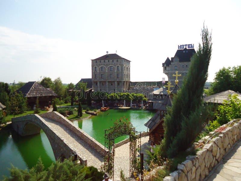 Ethno村庄斯塔尼希奇在波斯尼亚 免版税库存图片