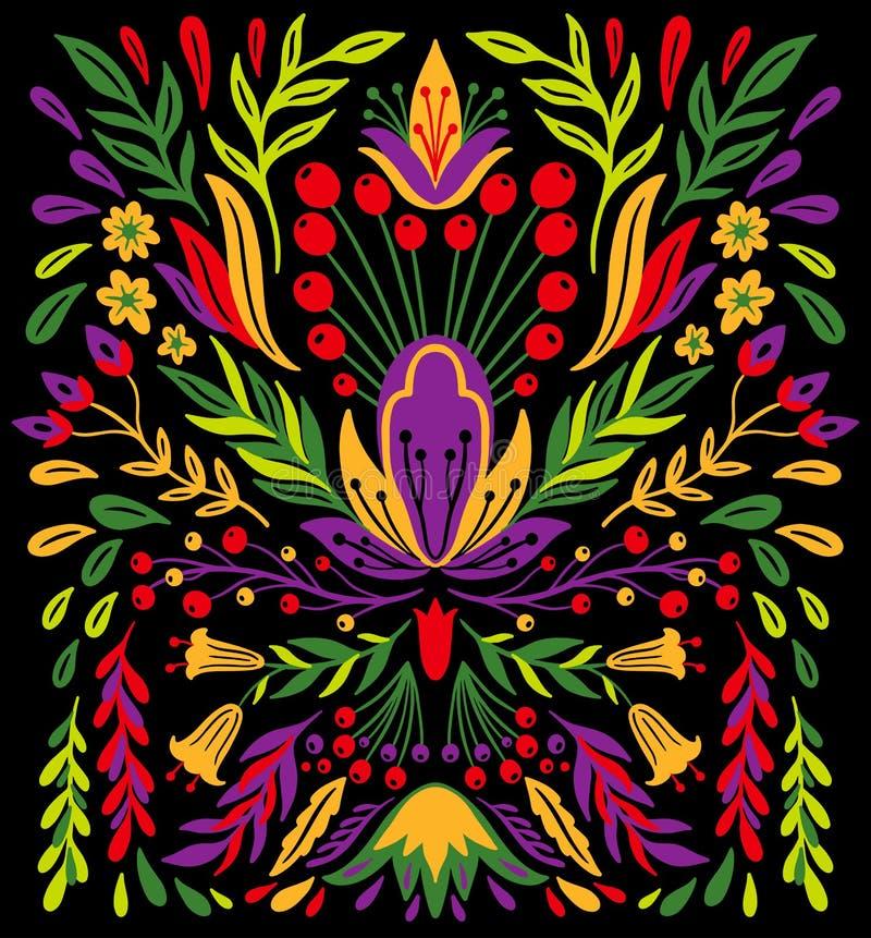 Ethno民间装饰花饰 对称镜子构成 画的抽象装饰品 免版税库存图片