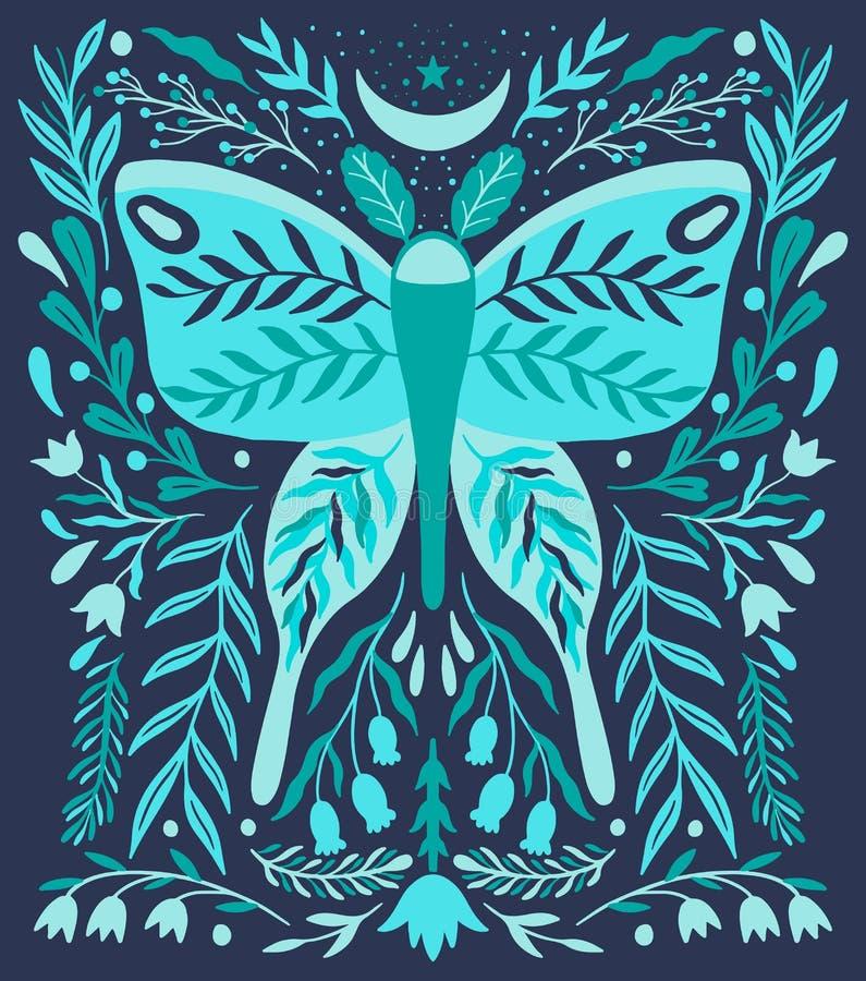 Ethno ludowy dekoracyjny kwiecisty ornament Symetria wziernikowy skład Rysunkowy abstrakcjonistyczny ornament ilustracji