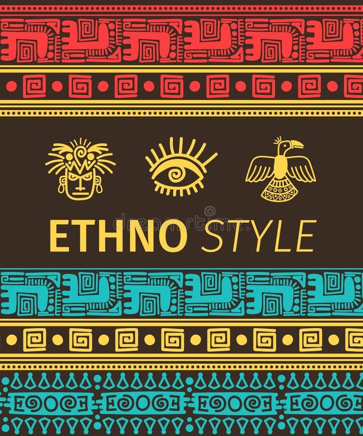 Ethno sztandar z plemiennymi symbolami royalty ilustracja