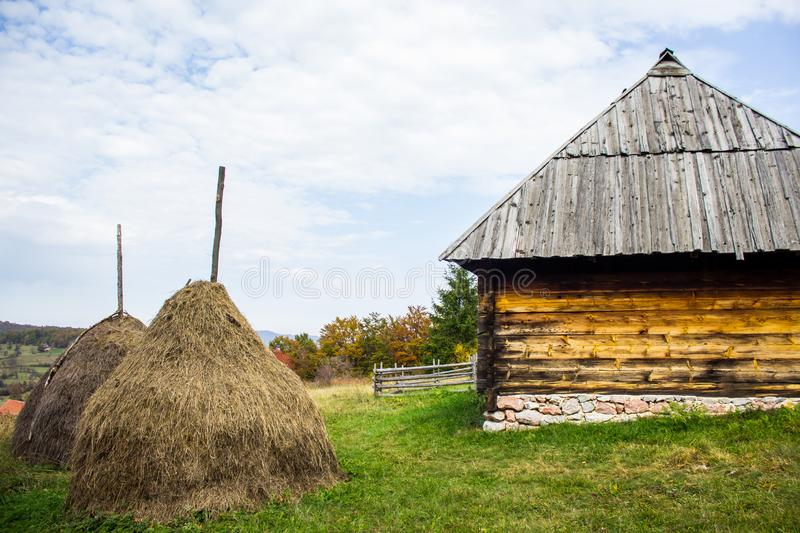 Ethno village Sirogojno in Zlatibor surroundings, Serbia. Authentic Serbian cottage royalty free stock photos