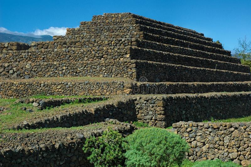 The ethnographic park, Pyramids of Guimar, Tenerife, Canary Islands. Pyramid-shaped, terraced structures, found in Valley of Guimar, Tenerife and researched by stock photos