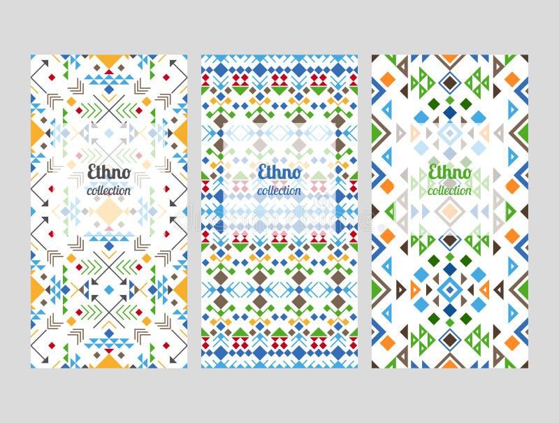 Ethnovliegers met geometrische patronen royalty-vrije illustratie