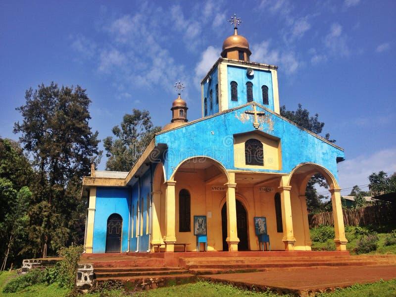 Ethopia blue church stock photo