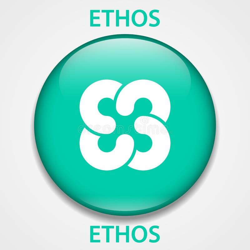 Ethos Coin cryptocurrency blockchain icon. Virtual electronic, internet money or cryptocoin symbol, logo.  royalty free illustration