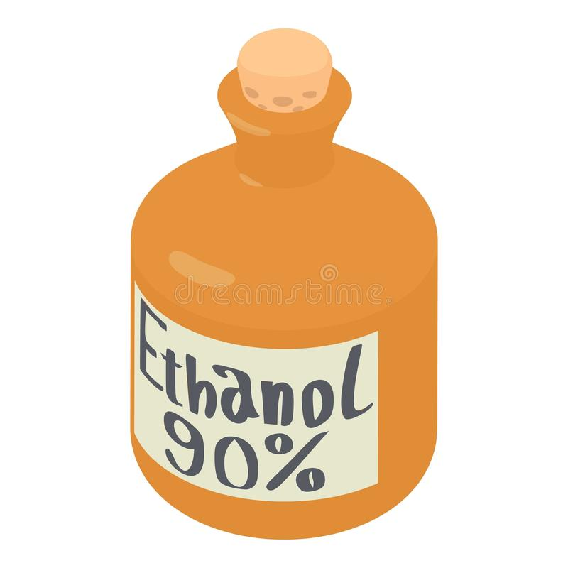 Ethylalcohol in flessenpictogram, isometrische 3d stijl stock illustratie