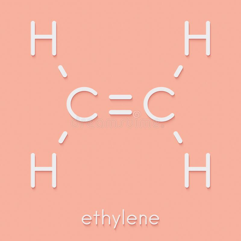 Free Ethylene Ethene Molecule. Used In Production Of Polyethylene But Also Important As A Plant Hormone. Skeletal Formula. Royalty Free Stock Photography - 188457017
