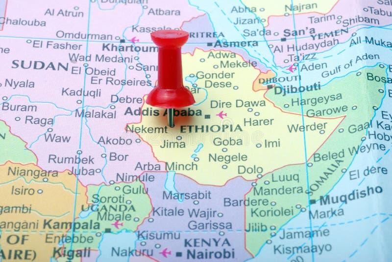 Etiópia no mapa imagens de stock royalty free