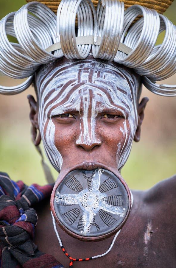 etiópia Vale 18 de Omo 09 2013 Tribo de Mursi imagens de stock royalty free