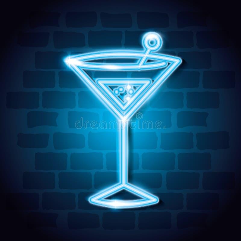 Etichetta al neon della bevanda del cocktail illustrazione di stock