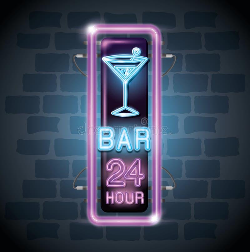 Etichetta al neon della bevanda del cocktail royalty illustrazione gratis