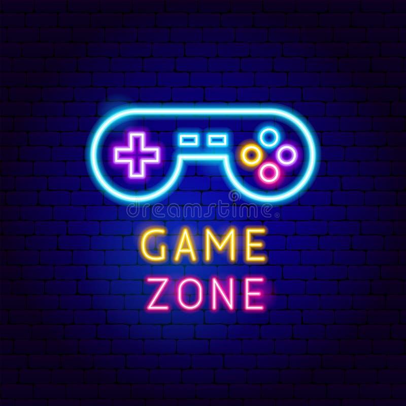Etichetta al neon di zona del gioco royalty illustrazione gratis