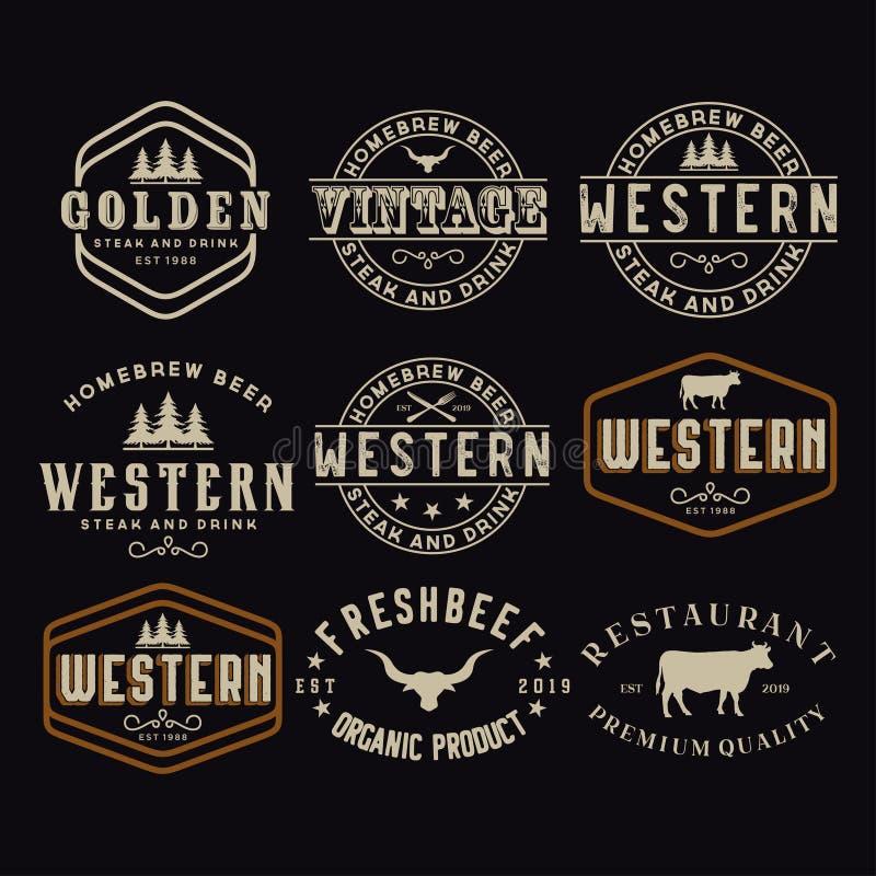 Etichetta antica del confine della struttura che incide retro tipografia dell'emblema del paese per ispirazione occidentale di Lo illustrazione vettoriale