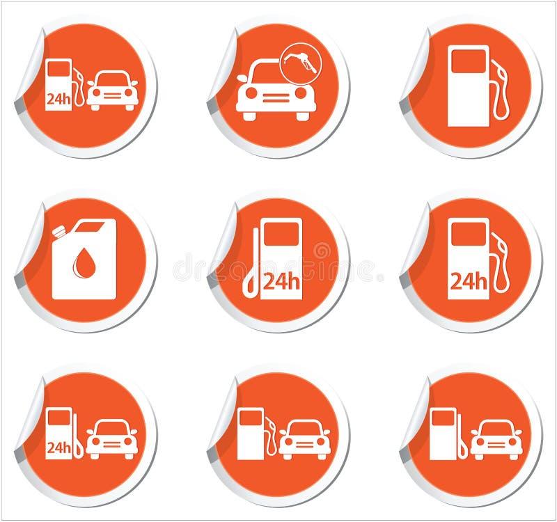 Etichetta arancio con le icone della stazione di servizio Illustrazione di vettore royalty illustrazione gratis