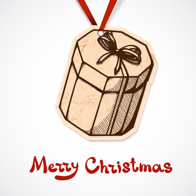 Etichetta attuale della carta della scatola. Natale e nuovo anno illustrazione di stock