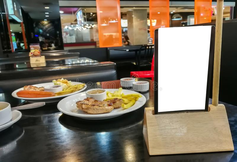 Etichetta bianca dell'alimento della tavola di pagamento del menu immagini stock libere da diritti
