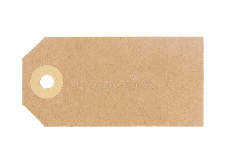 Etichetta in bianco dei bagagli, etichetta Cartone marrone tradizionale Isolato su priorit? bassa bianca Senza corda fotografia stock