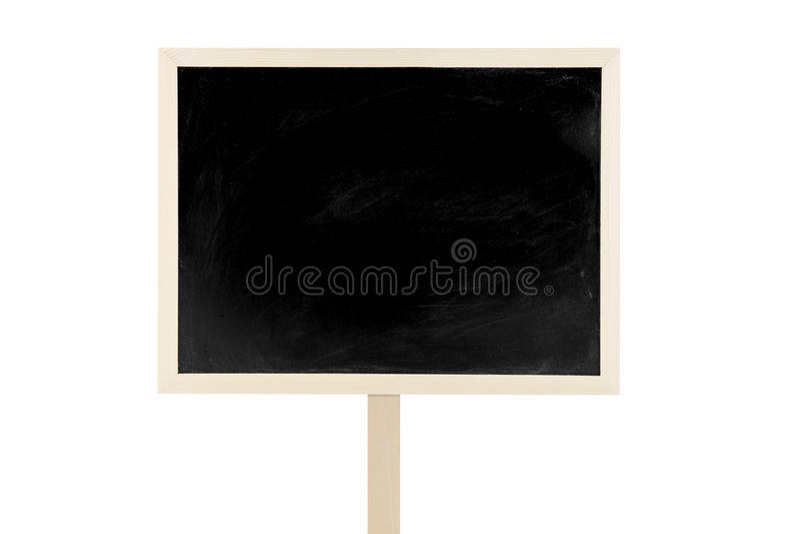 Etichetta in bianco della lavagna isolata su un fondo bianco immagini stock libere da diritti
