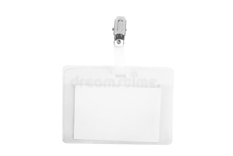Etichetta in bianco di nome in una manica di plastica Carta di identità vuota immagini stock