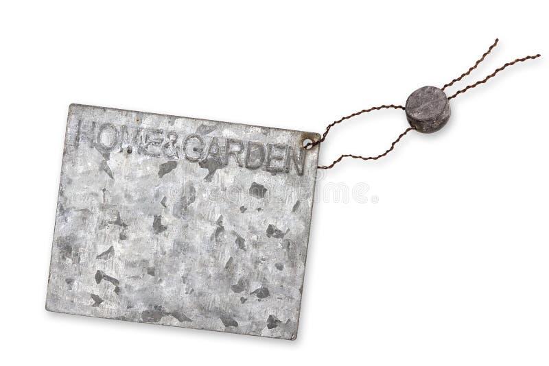 Etichetta in bianco, zinco-placcata fotografia stock libera da diritti
