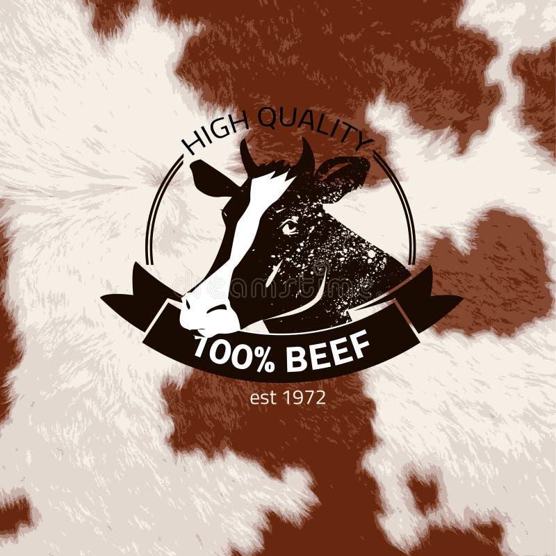 Etichetta/bollo neri alternativi del toro su fondo strutturato, illustrazione vettoriale