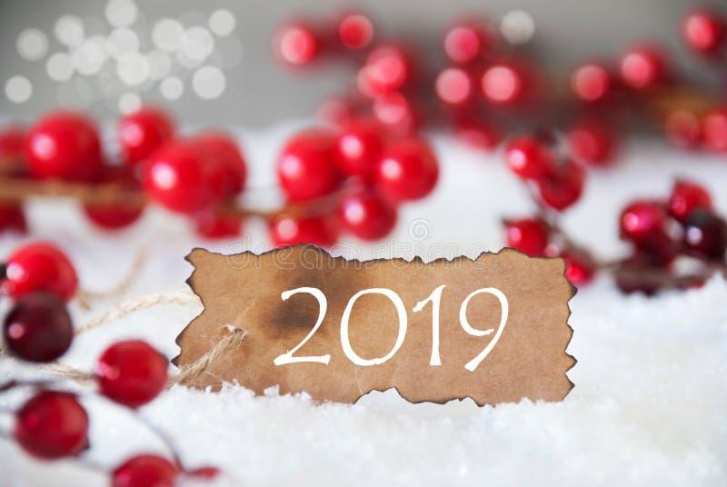 Etichetta bruciata, neve, Bokeh, testo 2019, decorazione di Natale immagine stock