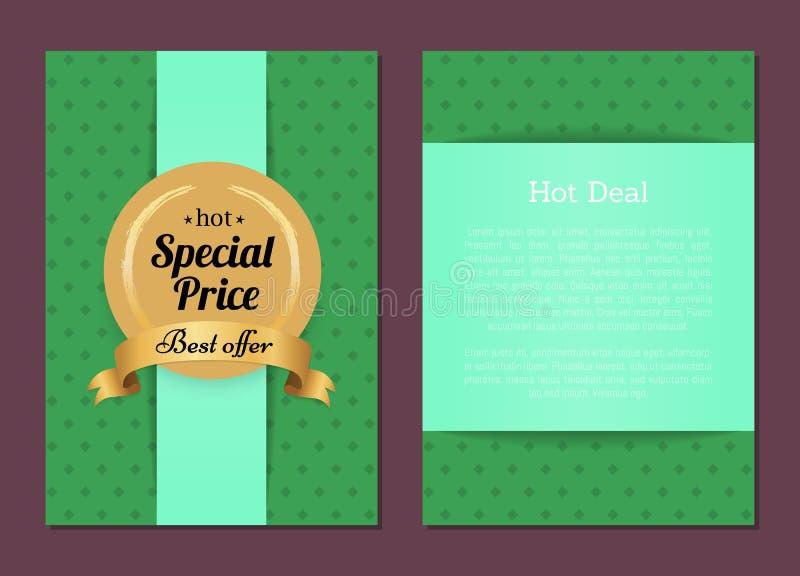 Etichetta calda dell'oro di offerta di prezzi speciali di vendita di affare migliore royalty illustrazione gratis
