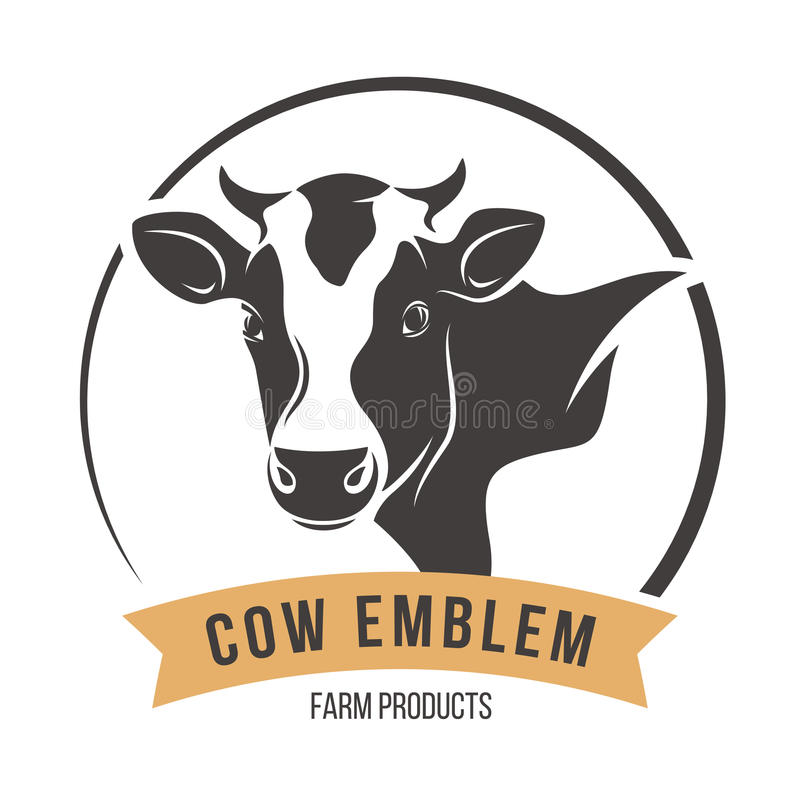 Etichetta capa dell'emblema della siluetta della mucca Illustrazione di vettore royalty illustrazione gratis
