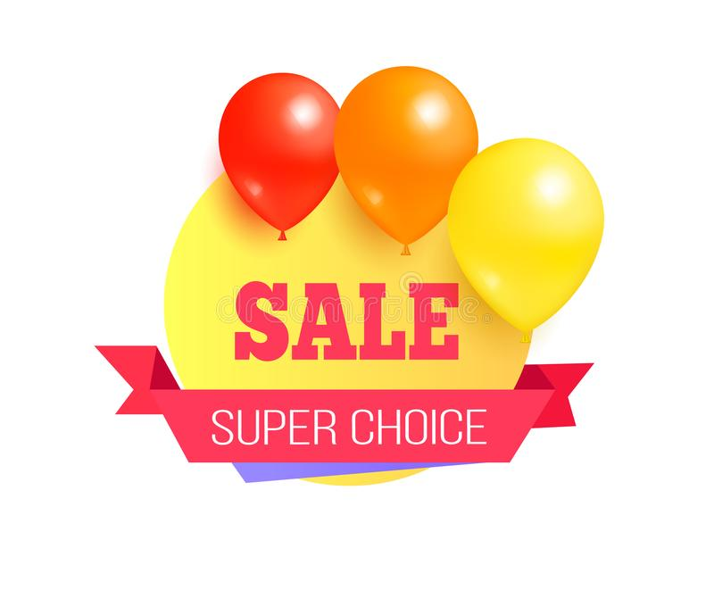 Etichetta Choice eccellente di promo di vendita con i palloni lucidi illustrazione di stock