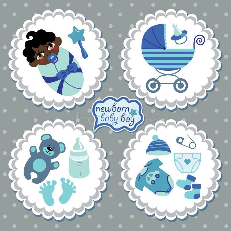 Etichetta con gli elementi per il ragazzo di neonato del mulatto illustrazione di stock
