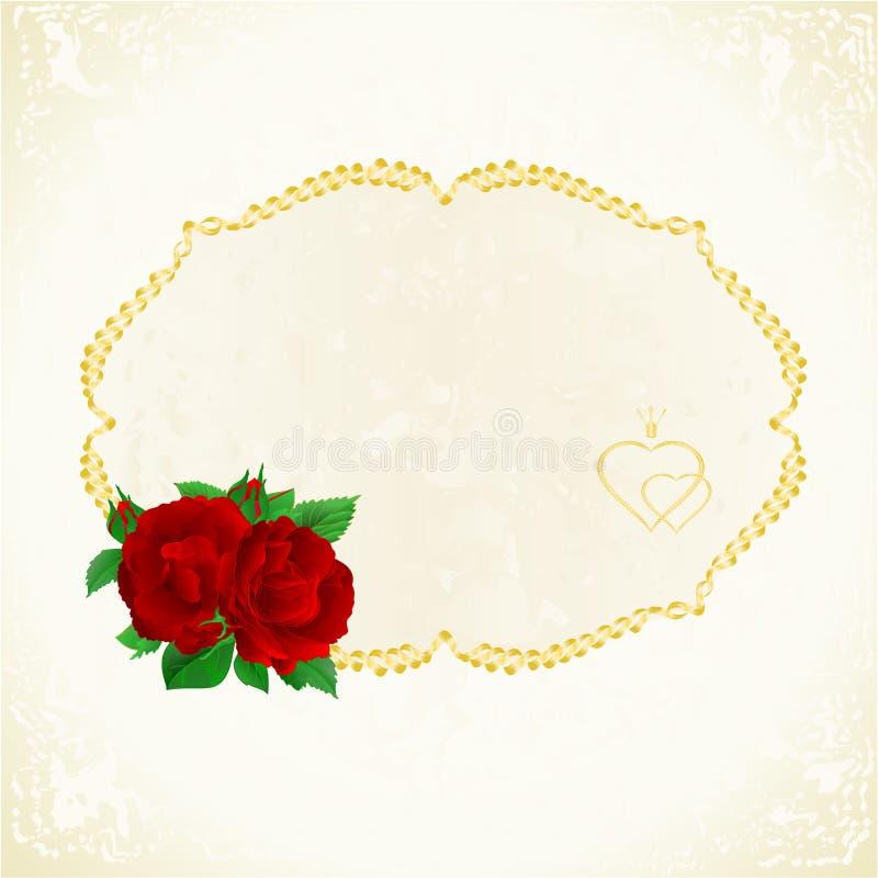 Etichetta con l'illustrazione d'annata di vettore del fondo festivo floreale porpora delle rose editabile royalty illustrazione gratis