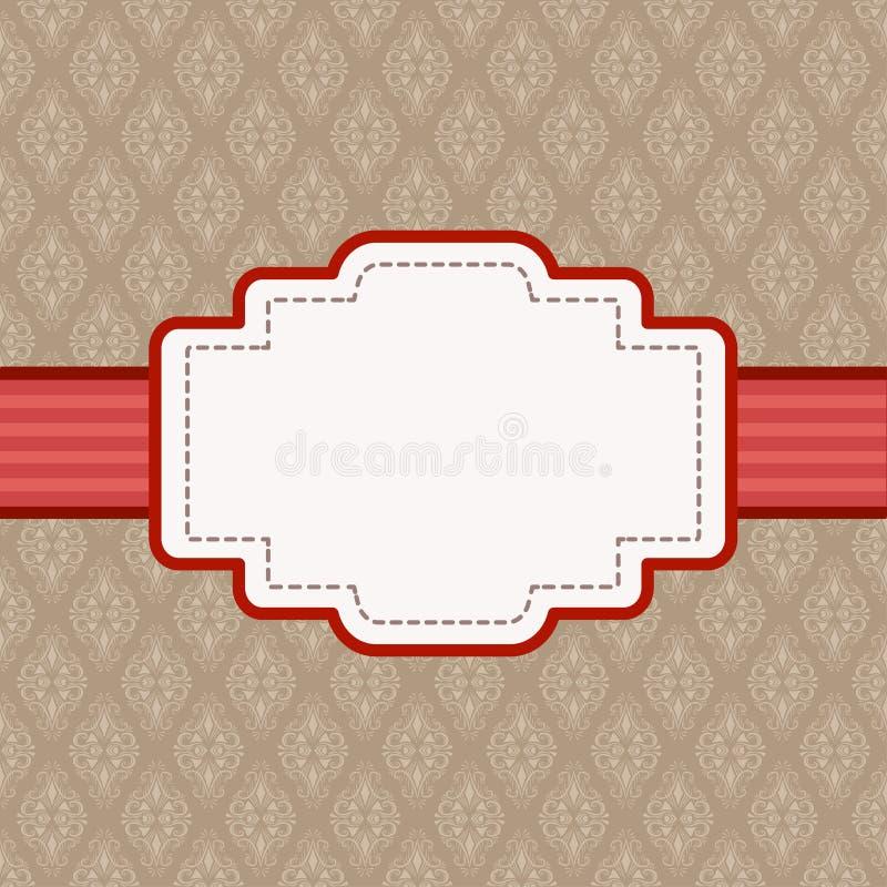 Etichetta con spazio per testo su fondo d'annata marrone Modello del damasco, illustrazione di vettore royalty illustrazione gratis