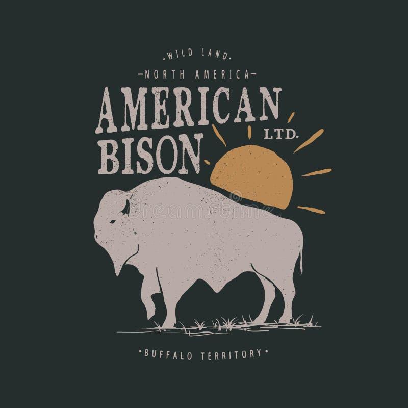 Etichetta d'annata con il bisonte americano illustrazione di stock