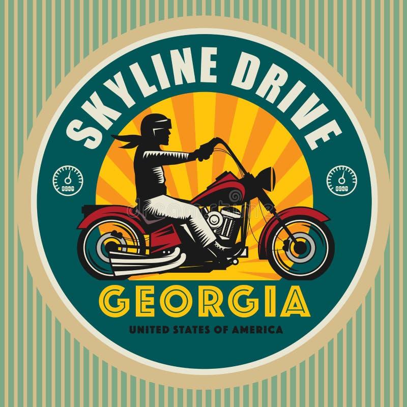 Etichetta d'annata del motociclismo royalty illustrazione gratis