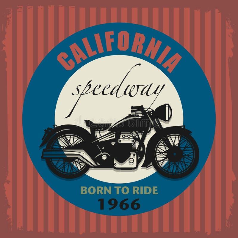 Etichetta d'annata del motociclo illustrazione vettoriale