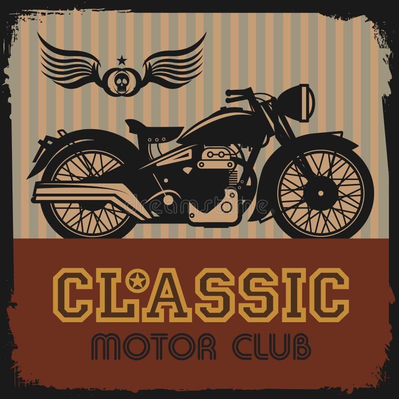 Etichetta d'annata del motociclo illustrazione di stock