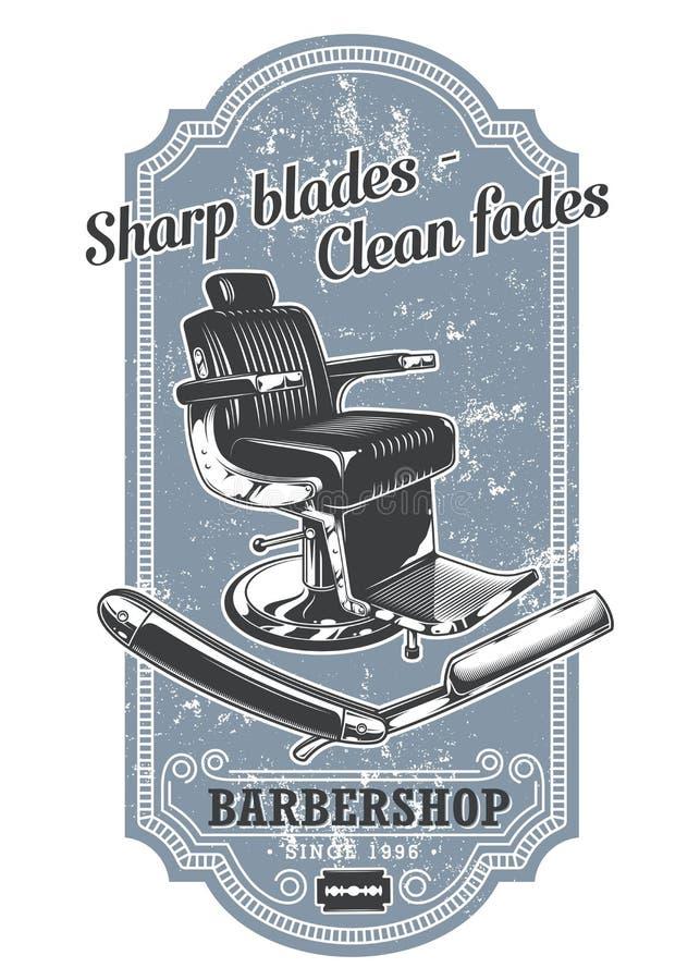 Etichetta d'annata del parrucchiere con la sedia ed il rasoio di barbiere illustrazione vettoriale