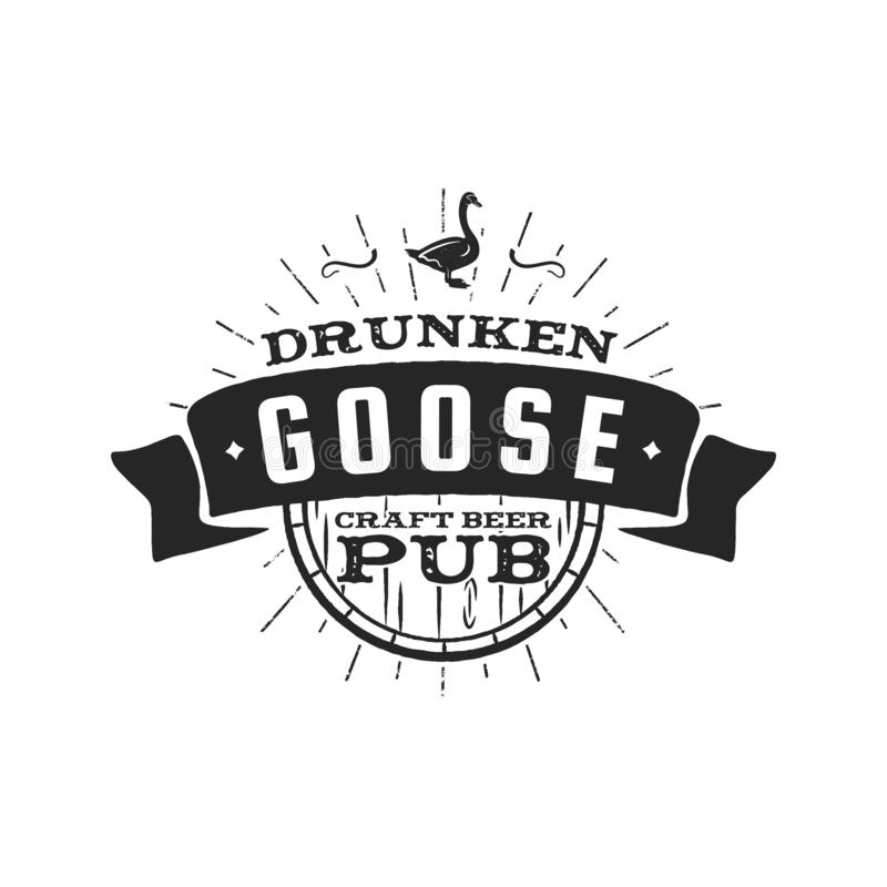 Etichetta d'annata del pub della birra del mestiere Retro elemento di progettazione della fabbrica di birra ubriaca dell'oca Embl illustrazione di stock