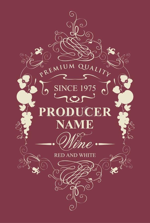 Etichetta d'annata del vino con l'ornamento della frutta e floreale illustrazione di stock