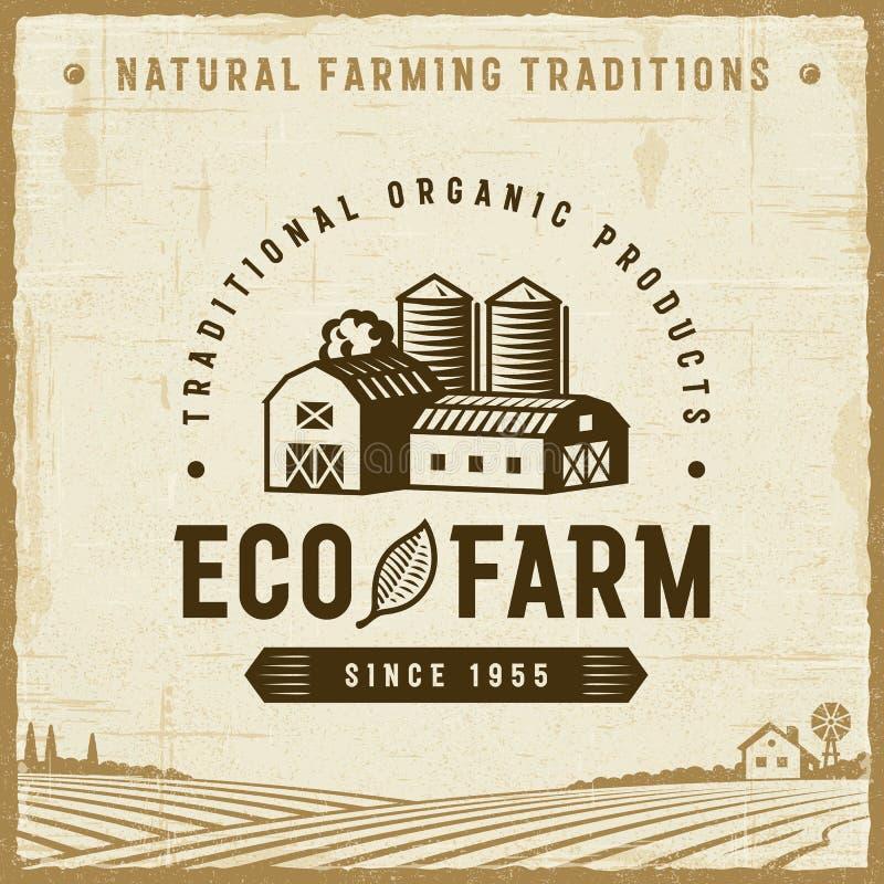 Etichetta d'annata dell'azienda agricola di Eco royalty illustrazione gratis