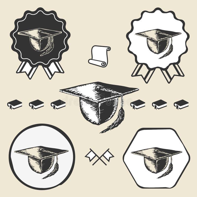 Etichetta d'annata dell'emblema di simbolo del cappuccio di graduazione illustrazione di stock