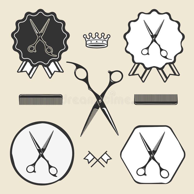 Etichetta d'annata dell'emblema di simbolo di forbici del negozio di barbiere illustrazione di stock
